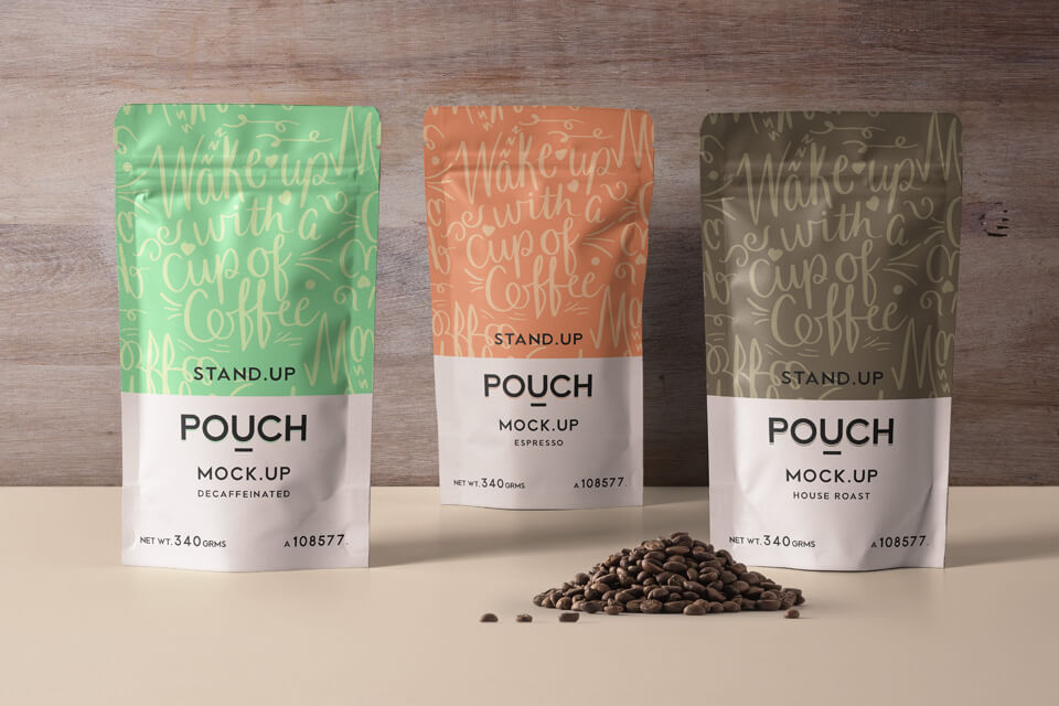 Three Colorful Coffee Packaging Pouch Mockup