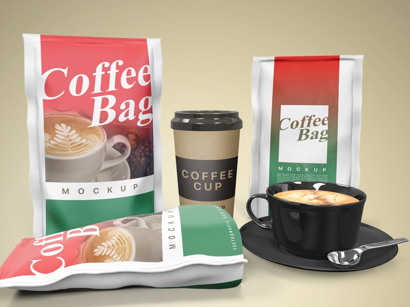 Three Designing Coffee Packaging Bag With Brown Coffee Cup Mockup