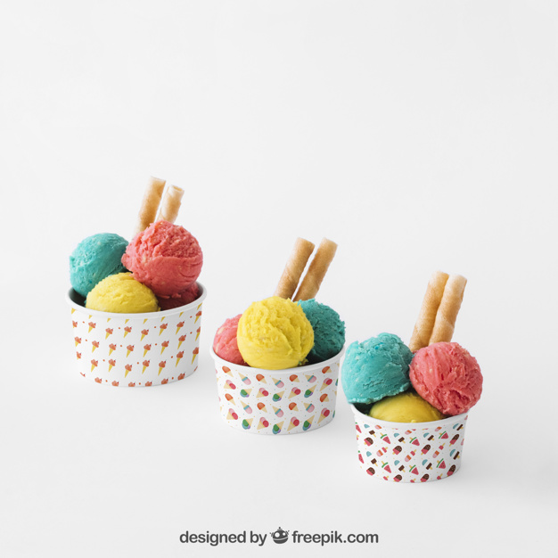 Three Ice Cream Cup Mockup