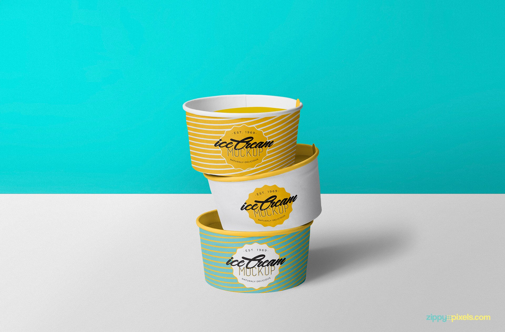 Three Light Colored Cups Of Ice Cream Mockup