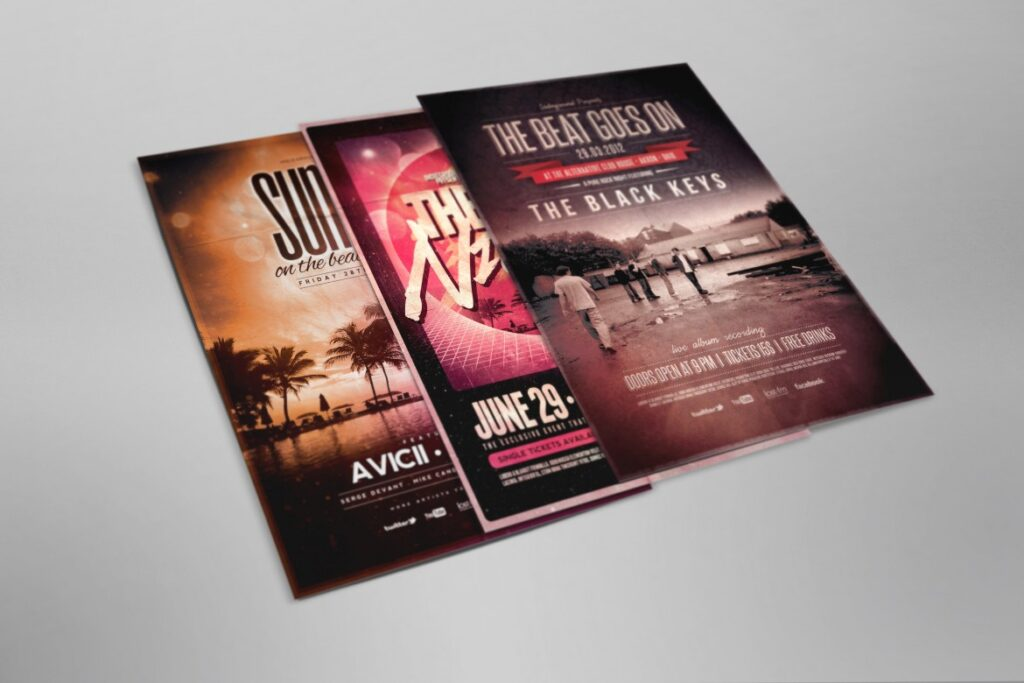 Three Photorealistic Scene Printed Flyer Mockup