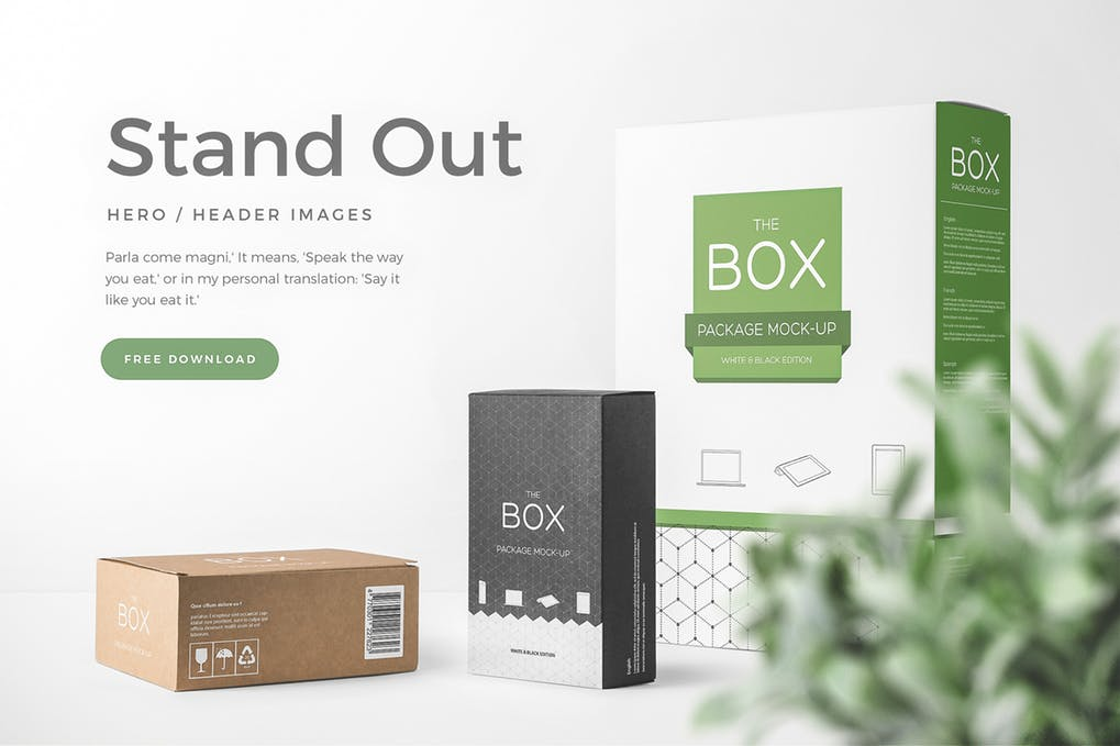 Three Stand Out Packaging 3D Box Mockup Illustration