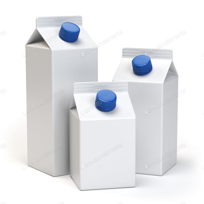 Three White Color Clean Milk Box With Blue Lid