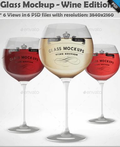 Three Wine Glass  Mockup