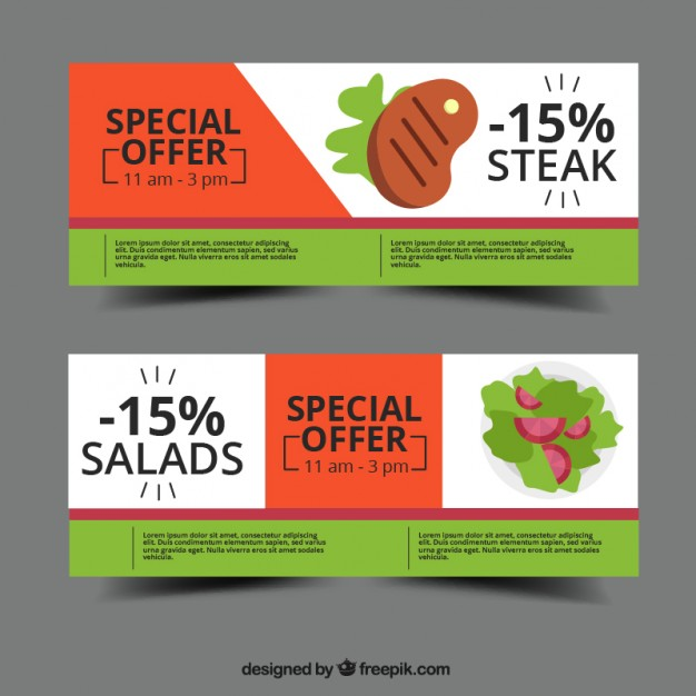 Three colored food packaging box Vector