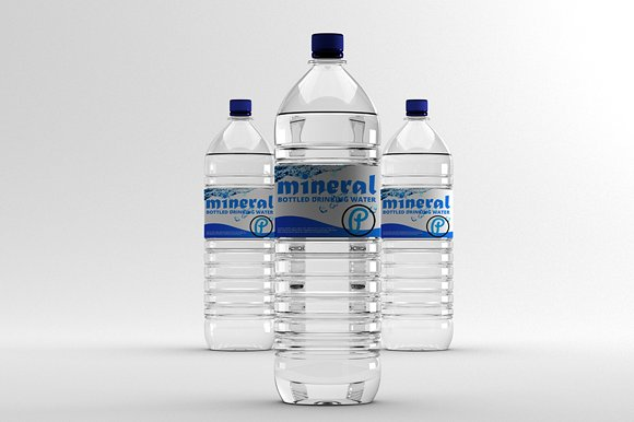 Three realistic Mineral Water Bottle Mockup