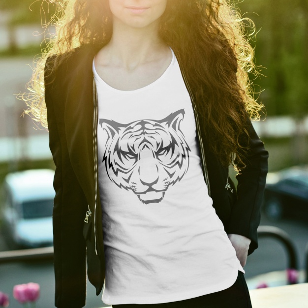 Tiger print T-shirt for Ladies PSD