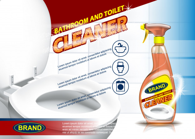 Toilet Cleaner Spray Bottle PSD Mockup: