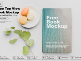 Free Top view Hard Cover Book Mockup PSD Template