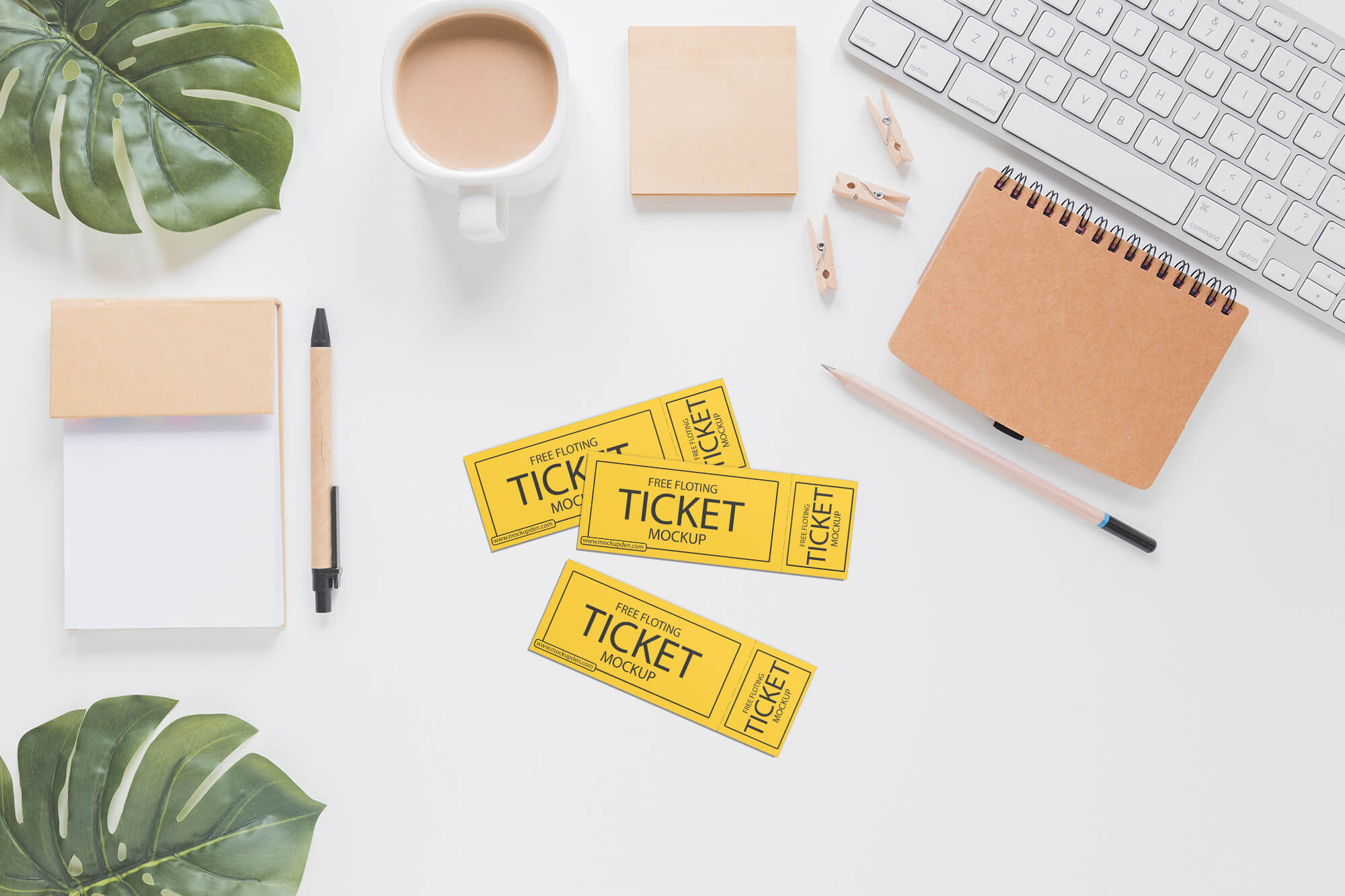 Free Top View Ticket Mockup PSD Template