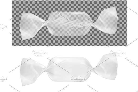 Transparent Candy Wrapper PSD Design Mockup: