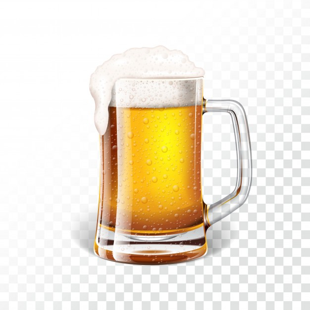 Transparent Fresh Lager Beer In A Beer Mug Vector File Illustration