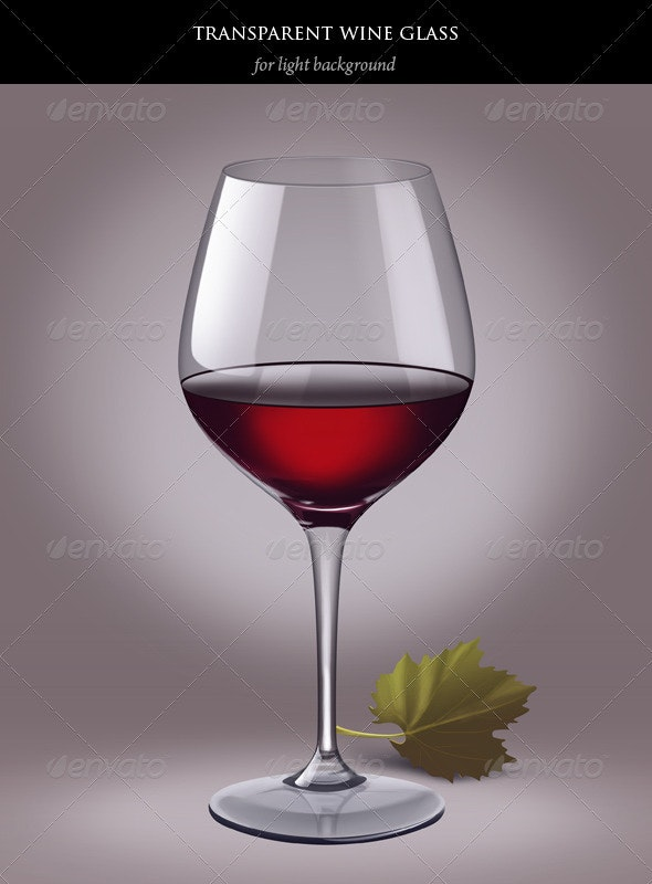 Transparent wine glass with red wine