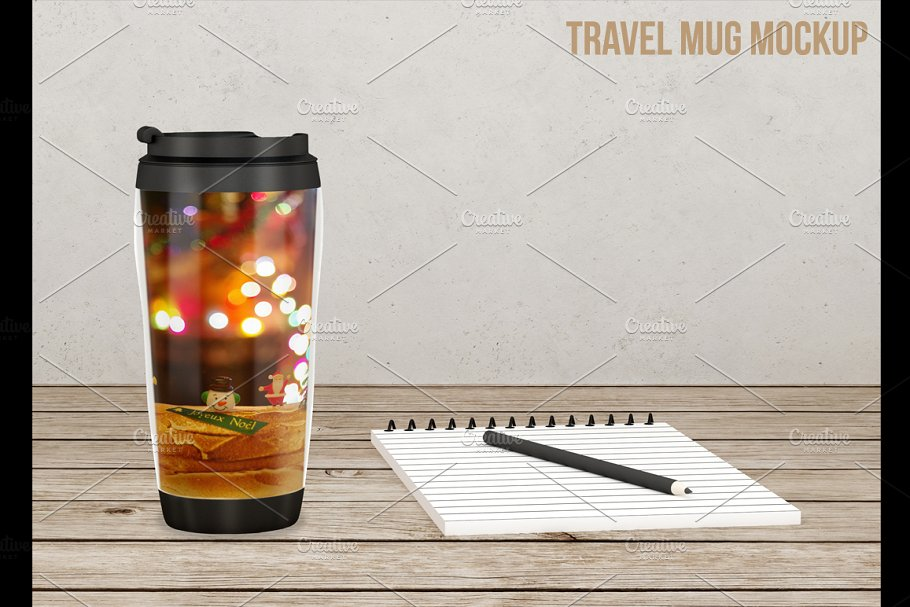 Travel Mug Placed On A Wooden Table Mockup