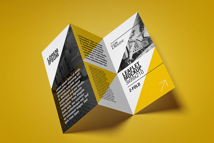 Tri-Fold Design Flyer Illustration PSD File