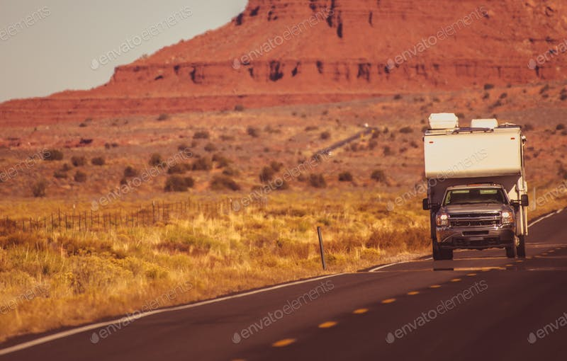 Truck On A Arizona Trip Mockup.