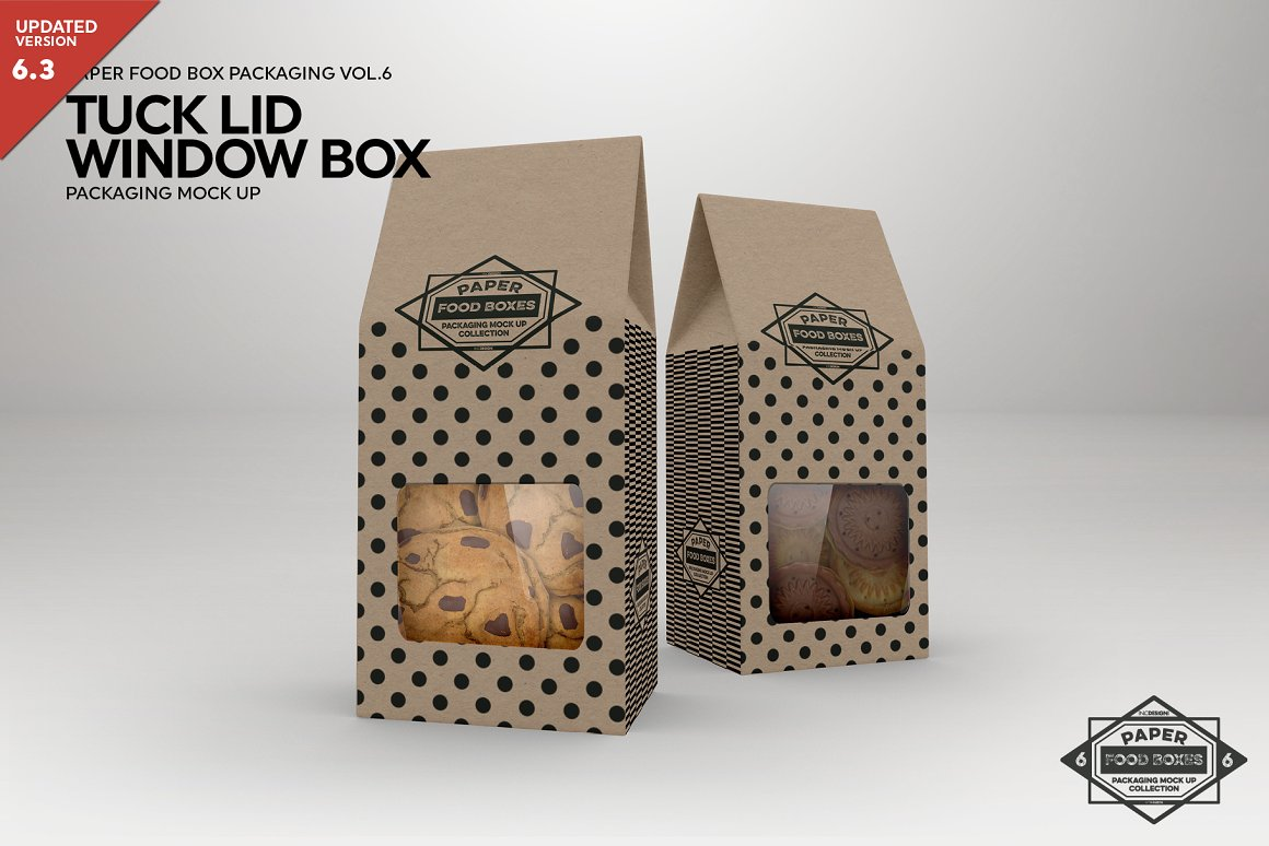 Tuck Lid Window In A Food Box PSD template