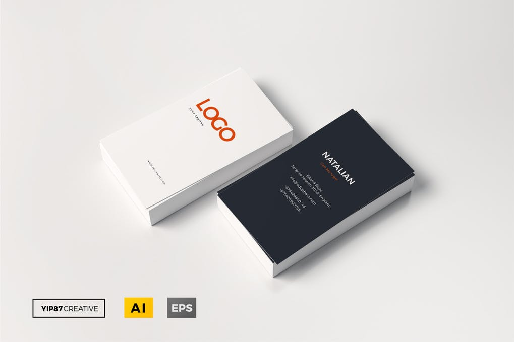 Two Business Card With Logo Print Mockup