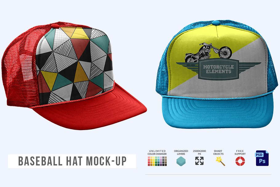 Two Colorful Print Baseball Hat Mockup