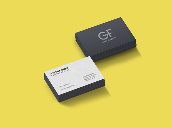 Two Different Color Business Card Stacked Mockup