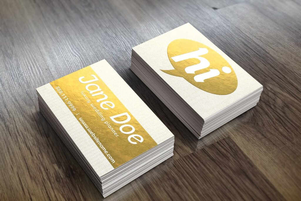 Two Golden Print Business Card Mockup