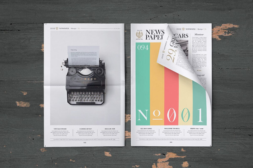 Two Newspaper On Wooden Table PSD File Illustration