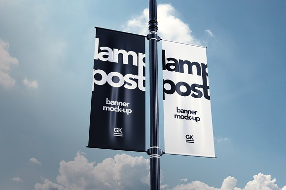 Two Sided Lamp Post Banner Mock-up