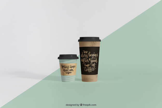 Two Small And Big Paper Coffee Cup Mockup