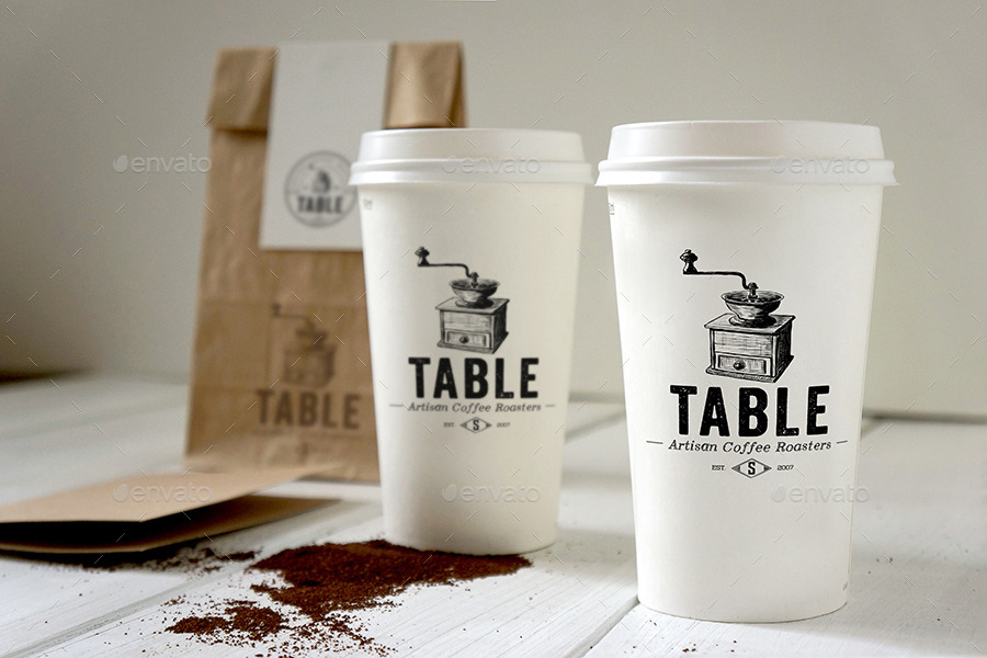 Two White Coffee Cup On Table Showcasing Coffee Branding Scene