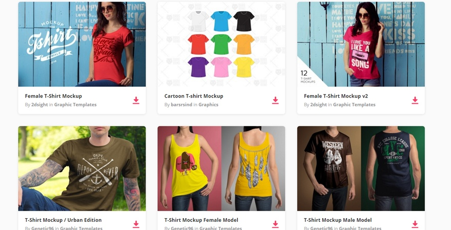 Various T-shirts for Male and Female Mockup PSD: