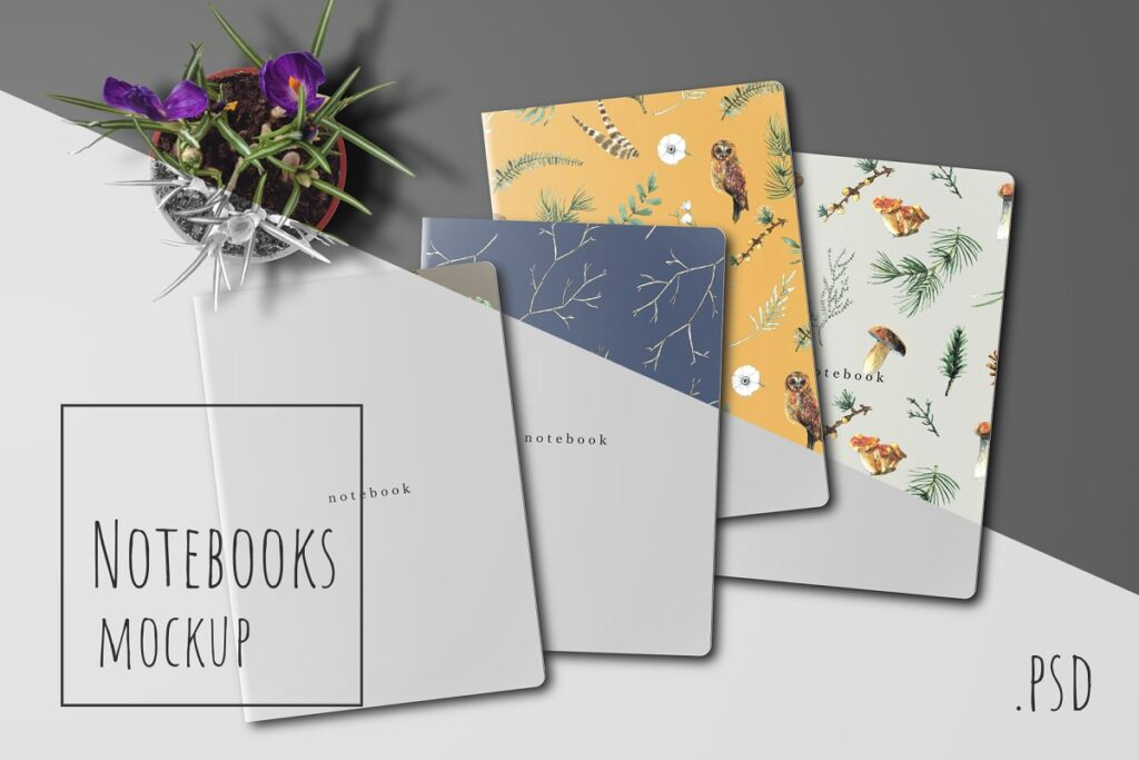 Various colored booklet mockup