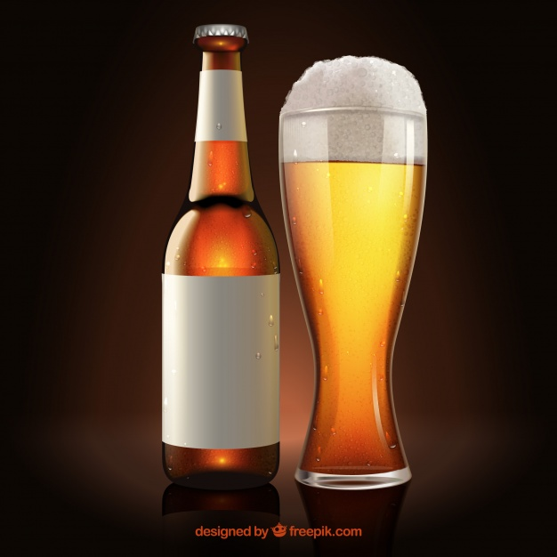 Vector File Illustration Of Beer Bottle And Glass Beside