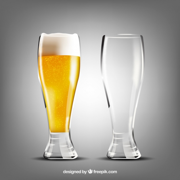 Vector Illustration Of Filled And Empty Beer Glass