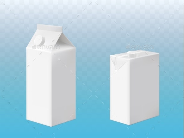 Vector Mockup of Pack of Milk or Juice with Cap