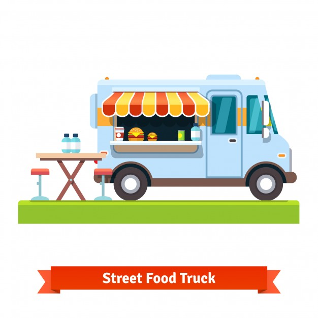 Vector Of AFood Truck In the Street Illustration.