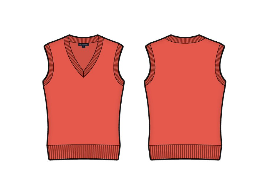 Vector Of A V-neck Sleeveless Sweater Vest.