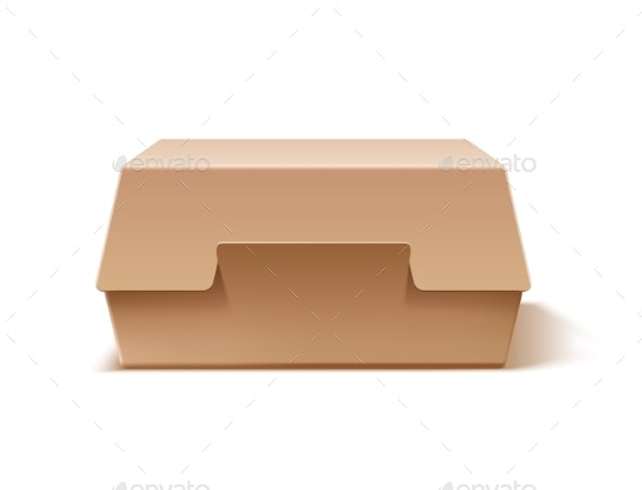 Vector Realistic Cardboard Burger Box Mock Up