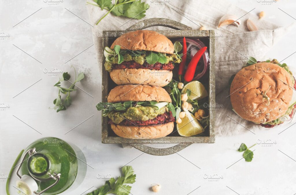 Vegetable Burger With Guacamole mockup.
