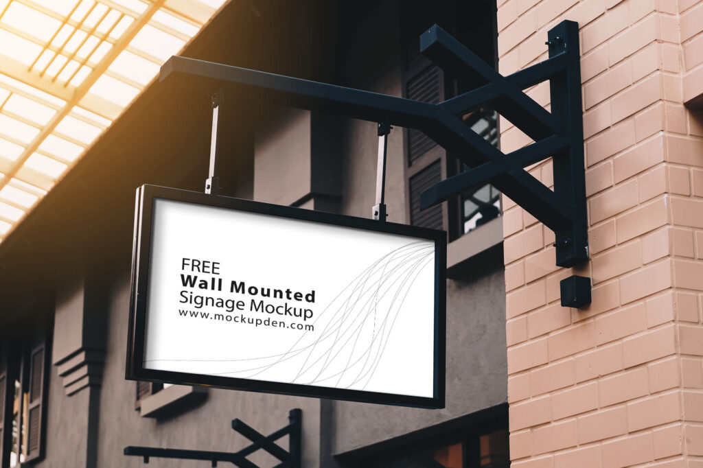 Free Wall Mounted Signage Mockup PSD Template