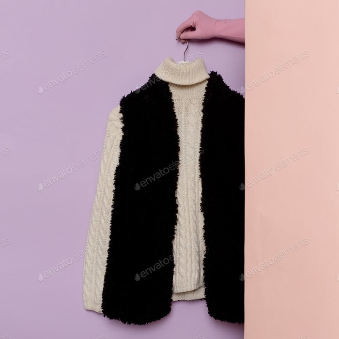 Warm Sweater And Fur Vest Mockup.