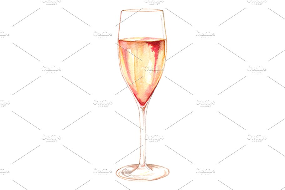 Watercolor Print Wine Glass Illustration In Blank White Background