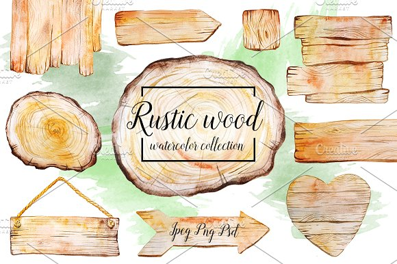 Watercolor Wooden Signboard Collection PSD File