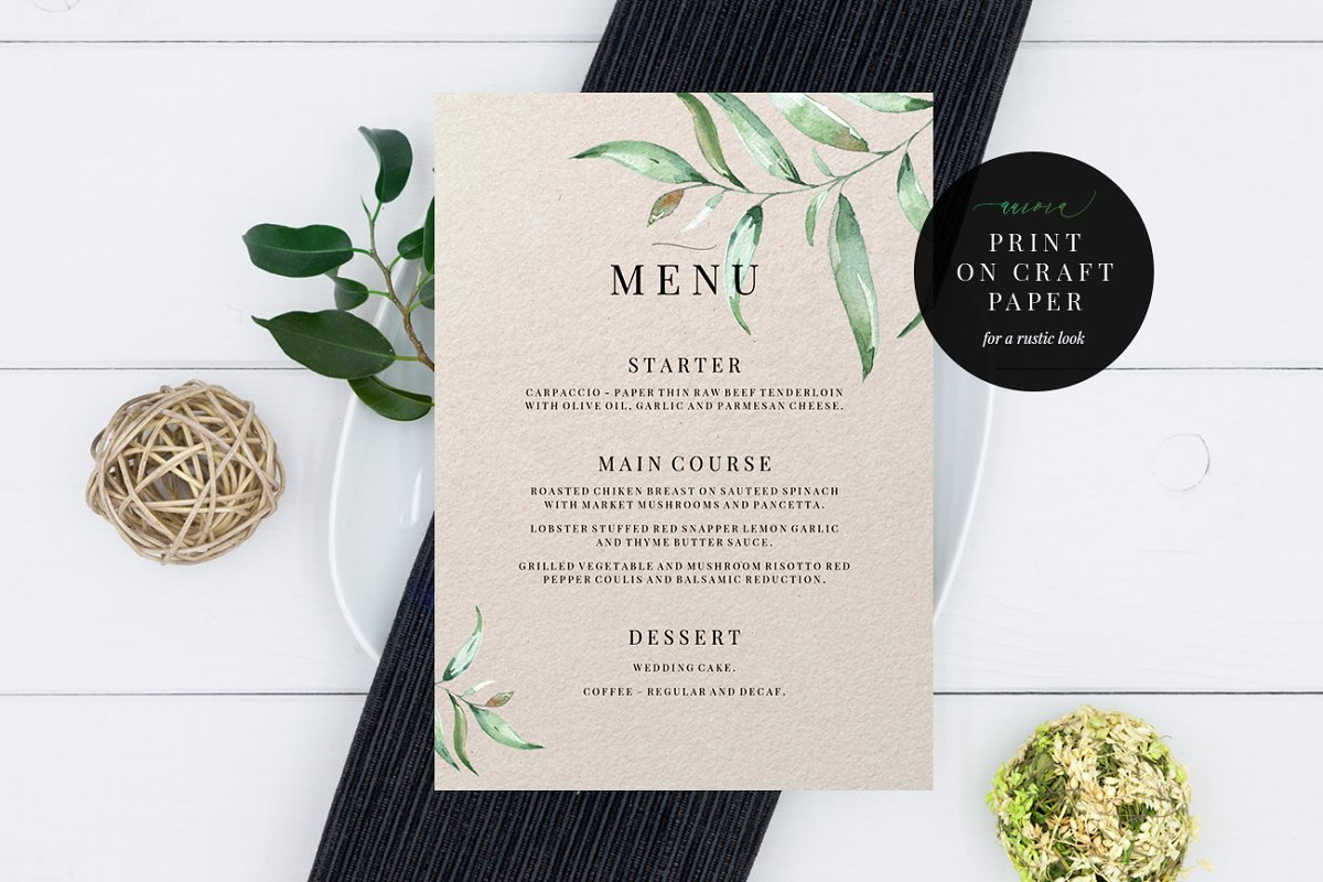 Wedding Menu Template, Aurora
