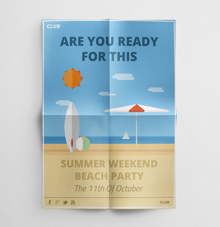 Weekend Beach Party Flyer Mockup