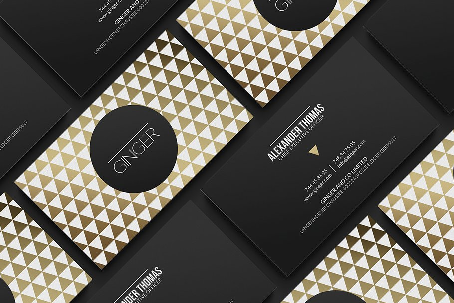 White And Golden Color Pattern Printed Business Card With Round Frame