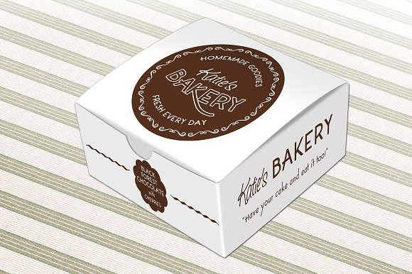 White Cake Packaging Box With Brown Color Print On It