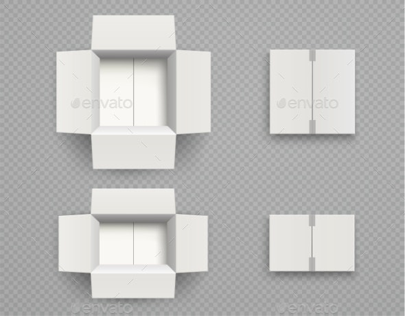 White Cardboard Box Mock Up Top View