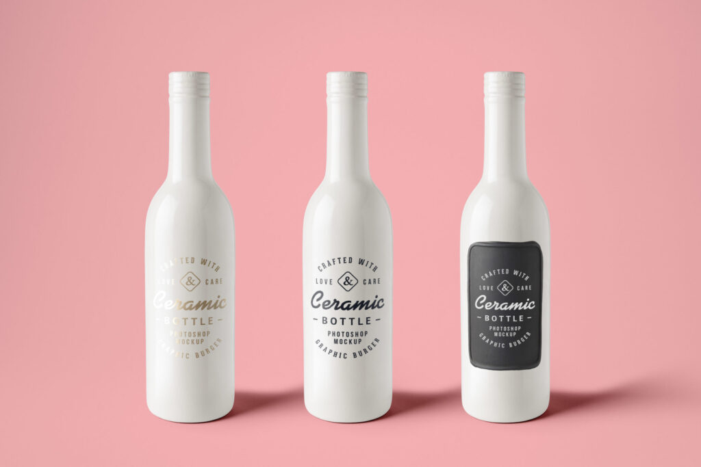 White Ceramic Bottle Label Design PSD