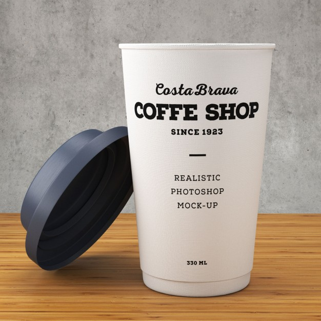 White Coffee Cup With Black Lid Mockup