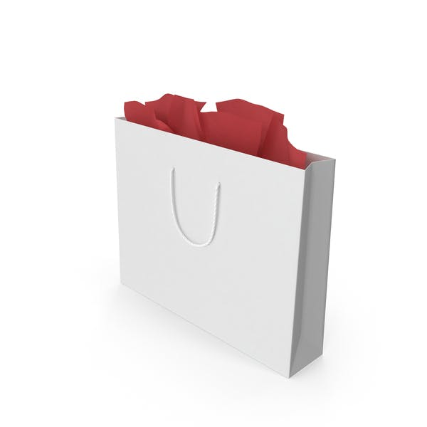 White Color Gift Bag With Handle Mockup
